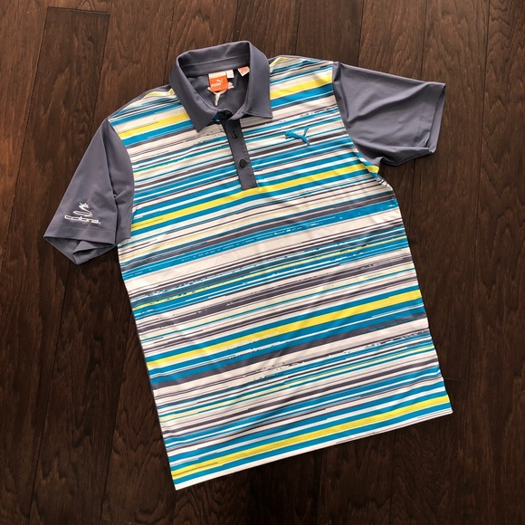 2d3e02dbd365 Men s puma golf polo dry cell striped grey shirt. M 5c6adb5034a4efb30af59202